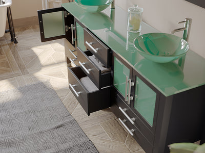 "71"" Double Bathroom Vanity Set - Cambridge Plumbing Solid Wood & Glass with Polished Chrome Faucets - 8119BXL - Bath Parlor"