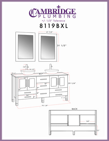 "Image of 71"" Double Bathroom Vanity Set - Cambridge Plumbing Solid Wood & Glass with Polished Chrome Faucets - 8119BXL - Bath Parlor"