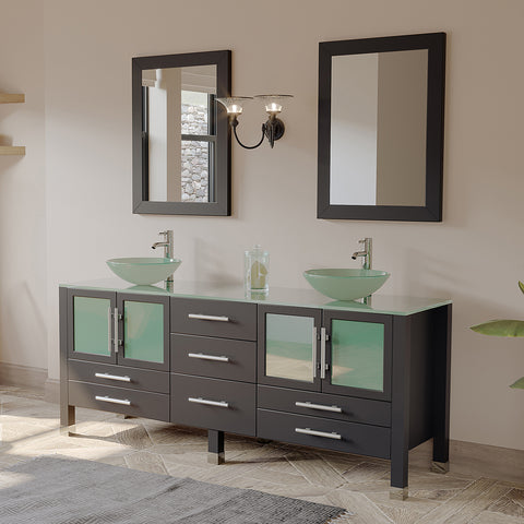 "Image of 71"" Double Bathroom Vanity Set - Cambridge Plumbing Solid Wood & Glass with Brushed Nickel Faucets - 8119BXL-BN - Bath Parlor"