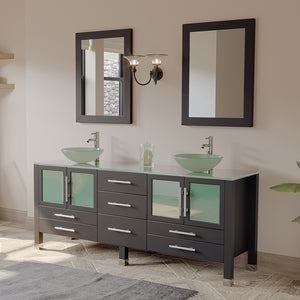 "71"" Double Bathroom Vanity Set - Cambridge Plumbing Solid Wood & Glass with Brushed Nickel Faucets - 8119BXL-BN - Bath Parlor"
