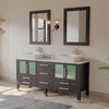 "63"" Double Bathroom Vanity Set - Cambridge Plumbing Espresso Oak Wood & Trim Porcelain Vessel Sink - 8119F-BN - Bath Parlor"