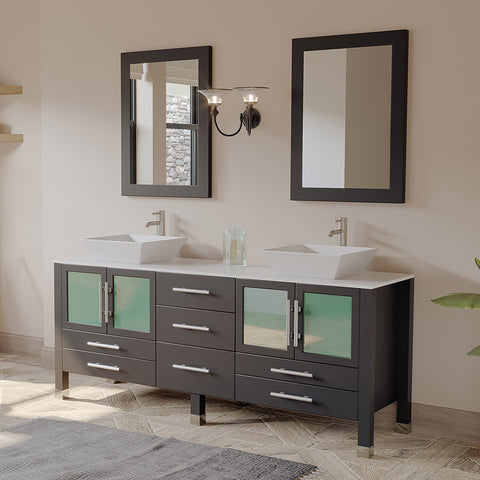 "71"" Double Bathroom Vanity Set - Cambridge Plumbing Espresso Wood & Porcelain Vessel Sink - 8119XLF-BN - Bath Parlor"