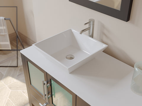 "Image of 71"" Double Bathroom Vanity Set - Cambridge Plumbing Espresso Wood & Porcelain Vessel Sink - 8119XLF-CP - Bath Parlor"