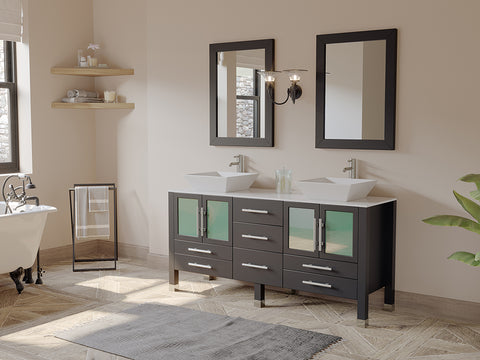 "63"" Double Bathroom Vanity Set - Cambridge Plumbing Espresso Oak Wood & Trim Porcelain Vessel Sink - 8119F - Bath Parlor"