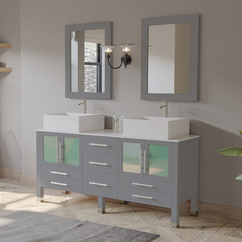 "63"" Double Bathroom Vanity Set - Cambridge Plumbing Gray Wood and Porcelain with Brushed Nickel Plumbing - 8119G-BN - Bath Parlor"