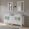 "63"" Double Bathroom Vanity Set - Cambridge Plumbing White Wood & Porcelain Vessel Sink with Frosted Glass countertop & Two Matching Vessel Sinks. Two long-Stemmed Chrome Faucets – 8119W-BN - Bath Parlor"