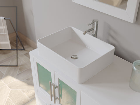 "63"" Double Bathroom Vanity Set - Cambridge Plumbing White Wood & Porcelain Vessel Sink with Frosted Glass countertop & Two Matching Vessel Sinks. Two long-Stemmed Chrome Faucets – 8119W - Bath Parlor"