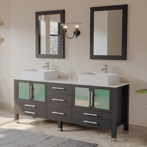 "71"" Double Bathroom Vessel Bathroom Vanity Set - Cambridge Plumbing Espresso Solid Wood & White Porcelain Counter-top with Two Matching White Vessel Sinks, Two Faucets, Two Mirrors & Brushed Nickel Faucets -8119XL-BN - Bath Parlor"