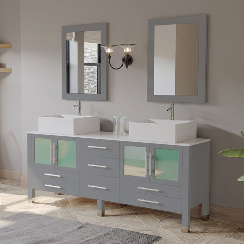 "71"" Double Vessel Sink Bathroom Vanity Set - Cambridge Plumbing Gray Wood & Porcelain with Polished Chrome Plumbing - 8119XLG - Bath Parlor"