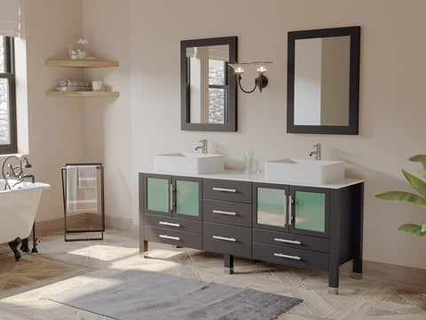 "Image of 71"" Double Bathroom Vessel Bathroom Vanity Set - Cambridge Plumbing Espresso Solid Wood & White Porcelain Countertop with Two Matching White Vessel Sinks, Two Faucets, Two Mirrors & Chrome Faucets - 8119XL - Bath Parlor"
