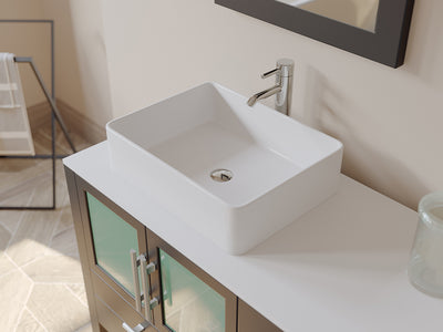 "71"" Double Bathroom Vessel Bathroom Vanity Set - Cambridge Plumbing Espresso Solid Wood & White Porcelain Countertop with Two Matching White Vessel Sinks, Two Faucets, Two Mirrors & Chrome Faucets - 8119XL - Bath Parlor"