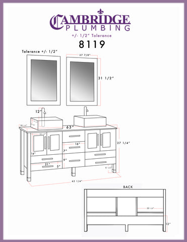 "63"" Double Bathroom Vanity Set - Cambridge Plumbing Gray Wood and Porcelain with Polished Chrome Plumbing - 8119G - Bath Parlor"