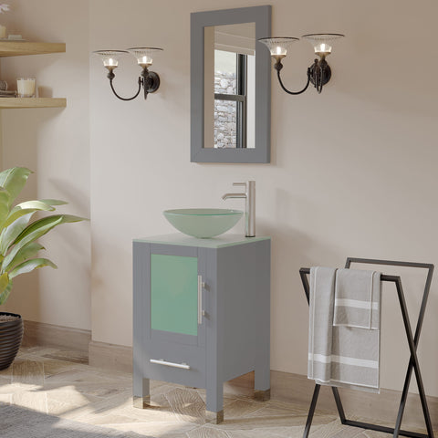 "Image of 18"" Vessel Sink Bathroom Vanity Set - Cambridge Plumbing Gray Wood & Brushed Nickel Plumbing - 8137BG-BN - Bath Parlor"