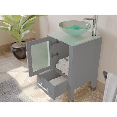 "18"" Vessel Sink Bathroom Vanity Set - Cambridge Plumbing Gray Wood & Brushed Nickel Plumbing - 8137BG-BN - Bath Parlor"