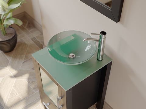 "Image of 18"" Single Round Tempered Glass Vessel Sink - Cambridge Plumbing Solid Wood Cabinet & Polished Chrome Faucets - 8137B-BN - Bath Parlor"