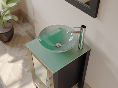 "18"" Single Round Tempered Glass Vessel Sink - Cambridge Plumbing Solid Wood Cabinet & Polished Chrome Faucets - 8137B-BN - Bath Parlor"