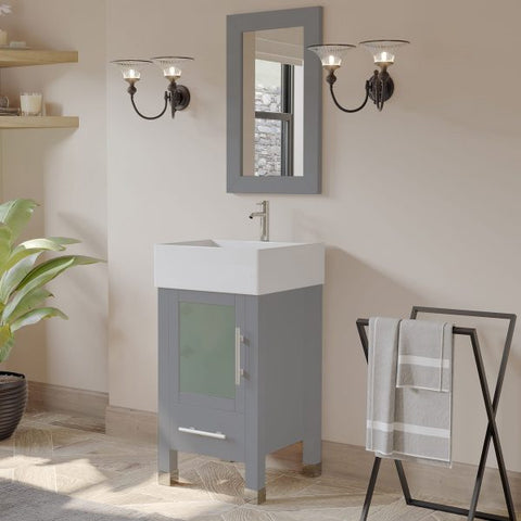 "18"" Vessel Sink Bathroom Vanity Set - Cambridge Plumbing Gray Wood & Porcelain with Polished Chrome Plumbing - 8137G - Bath Parlor"