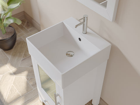 "Image of 18"" Single Vessel Sink Bathroom Vanity Set - Cambridge Plumbing Solid Wood & Porcelain with Brushed Nickel Faucets - 8137W-BN - Bath Parlor"