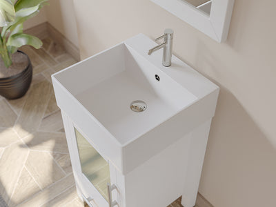 "18"" Single Vessel Sink Bathroom Vanity Set - Cambridge Plumbing Solid Wood & Porcelain with Brushed Nickel Faucets - 8137W-BN - Bath Parlor"