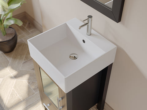 "Image of 18"" Single Vessel Sink Bathroom Vanity Set - Cambridge Plumbing Espresso Wood & Porcelain with Brushed Nickel Faucets - 8137-BN - Bath Parlor"