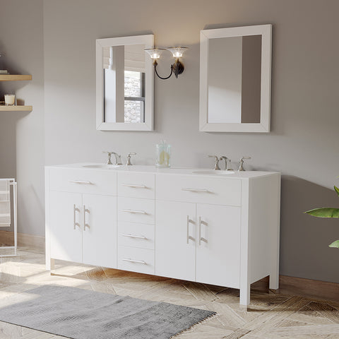 "Image of 72"" Double Basin Sink Bathroom Vanity Set - Cambridge Plumbing White Solid Wood - 8162W (72""L x 22""D 36""H) - Bath Parlor"