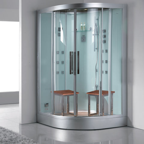 "Ariel Platinum DZ962F8 Two Person Corner Steam Shower (47""L x 47""W x 89""H)-Bath Parlor"