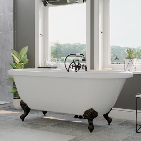 "Image of Cambridge Plumbing Double Ended Clawfoot Tub  - 70"" x 30"" Acrylic with Faucet Drilling & Complete Oil Rubbed Bronze Plumbing Package - ADE-463D-2-PKG-ORB-7DH - Bath Parlor"