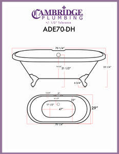 "Cambridge Plumbing Double Ended Clawfoot Bathtub - 70"" X 30"" Acrylic with 7"" Deck Mount Faucet Drilling & complete Brushed Nickel Plumbing Package - ADE-684D-PKG-BN-7DH - Bath Parlor"
