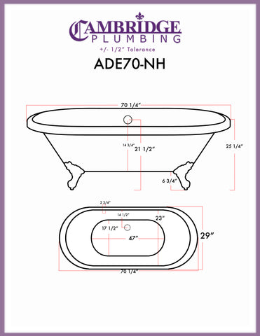 "Image of Cambridge Plumbing Double Ended Clawfoot Tub - 70"" Acrylic with no Faucet Drilling & Complete Oil Rubbed Bronze Plumbing - ADE-150-PKG-ORB-NH - Bath Parlor"