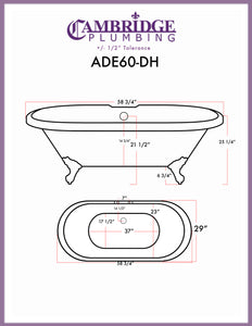 "Cambridge Plumbing Double Ended Clawfoot Tub  - 60"" X 30"" AcrylicOil Rubbed Bronze Feet - ADE60-DH-ORB - Bath Parlor"