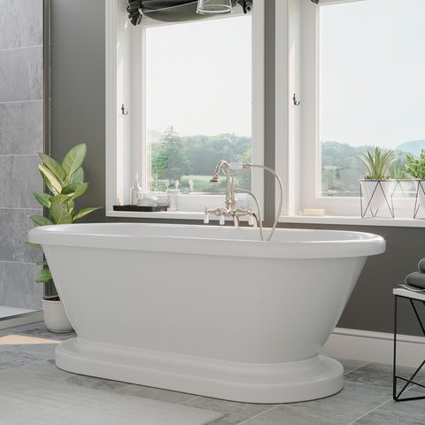"Cambridge Plumbing Double Ended Pedestal Tub No Faucet Holes - 6"" X 30"" Acrylic with no Faucet Drilling & Complete Polished Chrome Plumbing Package - ADEP60-398684-PKG-BN-NH - Bath Parlor"