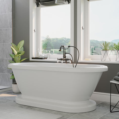 "Cambridge Plumbing Double Ended Pedestal Tub No Faucet Holes - 6"" X 30"" Acrylic with no Faucet Drilling & Complete Oil Rubbed Bronze Plumbing Package - ADEP60-398684-PKG-ORB-NH - Bath Parlor"