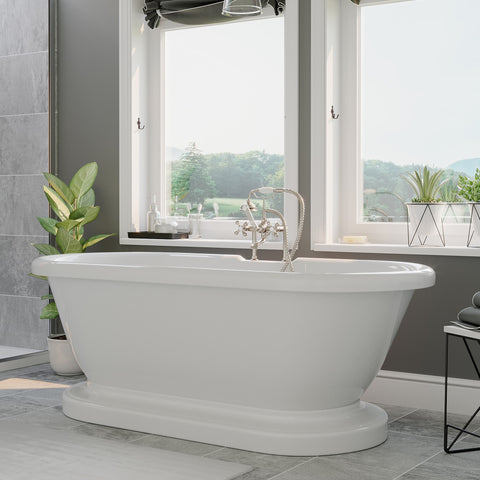 "Image of Cambridge Plumbing Double Ended Pedestal Bathtub 70"" X 30"" Acrylic with 7"" Faucet Drilling and Complete Brushed Nickel Plumbing Package - ADEP-463D-6-PKG-BN-7DH - Bath Parlor"