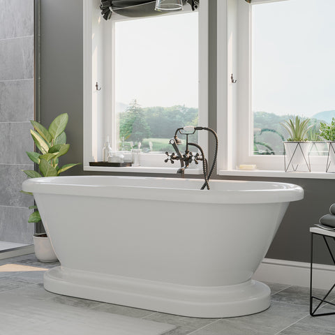 "Cambridge Plumbing Double Ended Pedestal Tub - 60"" X 30"" Acrylic with no Faucet Drilling & Complete Oil Rubbed Bronze Plumbing Package - ADEP60-398463-PKG-BN-NH - Bath Parlor"