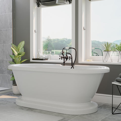 "Image of Cambridge Plumbing Double Ended Pedestal Bathtub - 60"" X 30""Acrylic with 7 inch Deck Mount Faucet Drilling & Complete Oil Rubbed Bronze Plumbing Package - ADEP60-463D-6-PKG-ORB-7DH - Bath Parlor"