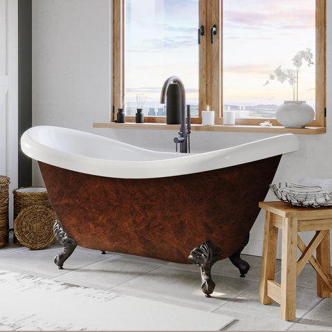 "Image of Cambridge Plumbing Double Slipper Clawfoot Tub  - 70"" x 30"" Acrylic Faux Copper Bronze Finish on Exterior with No Faucet Drilling & Oil Rubbed Bronze Feet - ADES-NH-ORB-CB - Bath Parlor"
