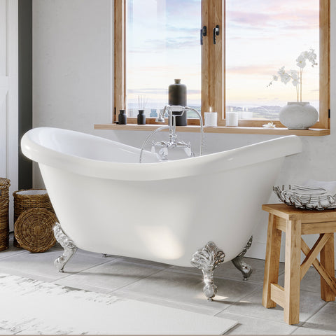 "Image of Cambridge Plumbing Double Ended Slipper Bathtub - 68"" X 28"" Acrylic with 7"" Deck Mount Faucet Drilling and Complete Polished Chrome Plumbing Package - ADES-684D-PKG-CP-7DH - Bath Parlor"