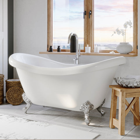 "Image of Cambridge Plumbing Double Slipper Clawfoot Tub - 68"" X 28"" Acrylic with No Faucet Drilling & Polished Chrome Feet - ADES-NH-BN - Bath Parlor"