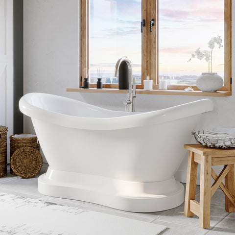 "Image of Cambridge Plumbing Double Ended Pedestal Slipper Bathtub - 68"" X 28"" Acrylic with No Faucet Drilling & Complete Brushed Nickel Plumbing Package - ADES-PED-150-PKG-BN-NH - Bath Parlor"