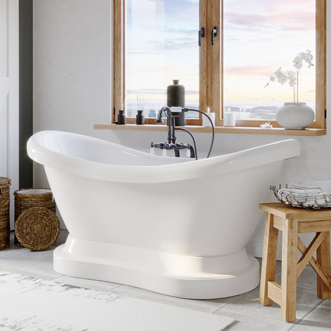 "Image of Cambridge Plumbing Double Ended Pedestal Slipper Bathtub - Acrylic with No Faucet Drilling & Complete Oil Rubbed Bronze Plumbing Package - ADES-PED-398684-PKG-ORB-NH (68""L x 28""W x 29""H) - Bath Parlor"