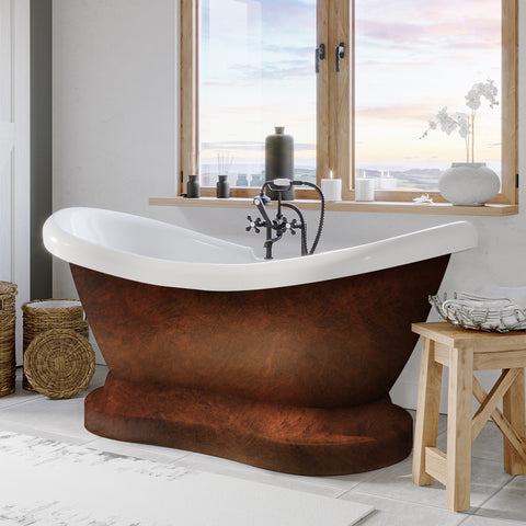 Image of Cambridge Plumbing Pedestal Bathtub  - Acrylic with Faucet drillings and Copper Bronze paint - ADES-PED-DH-CB - Bath Parlor