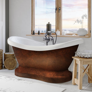 Cambridge Plumbing Pedestal Bathtub  - Acrylic with Faucet drillings and Copper Bronze paint - ADES-PED-DH-CB - Bath Parlor
