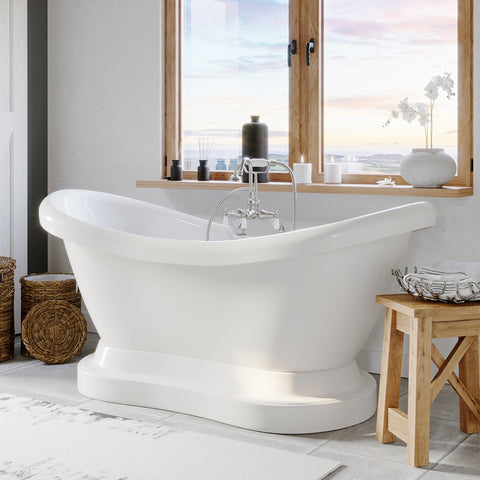 "Image of Cambridge Plumbing Double Ended Pedestal Slipper Bathtub - 68"" X 28"" Acrylic with 7"" Deck Mount Faucet Drilling & Complete Brushed Nickel Plumbing Package - ADES-PED-684D-PKG-BN-7DH - Bath Parlor"