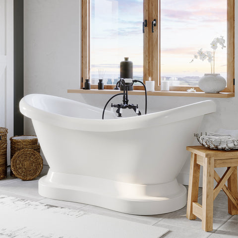 "Cambridge Plumbing Double Ended Pedestal Slipper Bathtub - 68"" X 28"" Acrylic with 7"" Deck Mount Faucet Drilling & Complete Oil Rubbed Bronze Plumbing Package -ADES-PED-684D-PKG-ORB-7DH - Bath Parlor"