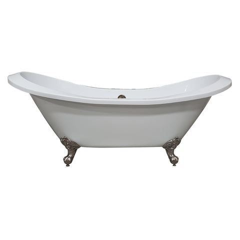 "Image of Cambridge Plumbing Double Slipper Clawfoot Tub -  73"" Extra Large Acrylic, Brushed Nickel Feet & Deck Mount Faucet Holes - ADESXL-DH-BN - Bath Parlor"