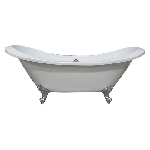 "Image of Cambridge Plumbing Double Slipper Clawfoot Tub -  73"" Extra Large Acrylic, Polished Chrome Feet & Deck Mount Faucet Holes - ADESXL-DH-CP - Bath Parlor"
