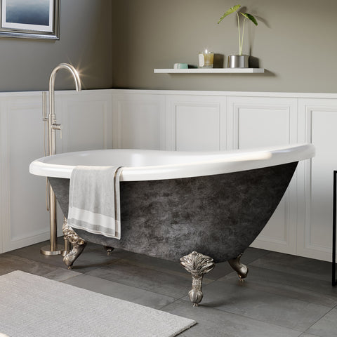 "Image of Cambridge Plumbing Slipper Scorched Platinum Clawfoot Tub - 61"" x 28"" Acrylic with"" 7"" Deck Mount Faucet Holes & Polished Chrome Ball and Claw Feet - AST61-DH-CP-SP-Bath Parlor"