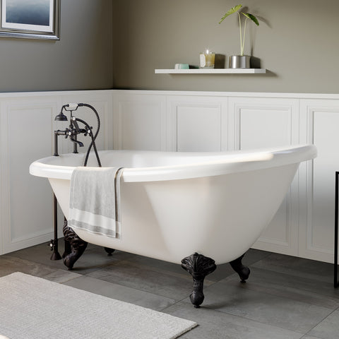 "Image of Cambridge Plumbing Slipper Bathtub - 61"" X 28"" Acrylic with 7"" Deck Mount Faucet Drilling & Complete Oil Rubbed Bronze Plumbing Package - AST61-463D-6-PKG-ORB-7DH-Bath Parlor"