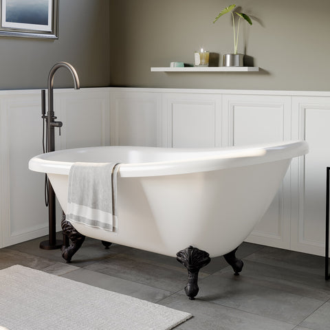 "Cambridge Plumbing Slipper Clawfoot Tub - 67"" X 28"" Acrylic with no Faucet Drilling & complete Oil Rubbed Bronze Plumbing Package - AST67-150-PKG-ORB-NH-Bath Parlor"