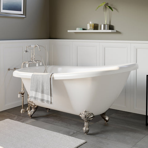 "Image of Cambridge Plumbing Slipper Clawfoot Tub - 67"" X 28"" Acrylic with no Faucet Drilling & Complete Brushed Nickel Plumbing Package - AST67-398684-PKG-BN-NH-Bath Parlor"
